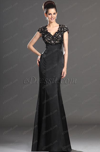 eDressit  Sexual Escote en V Negro Encaje Vestido de Madre de la Novia (26133100)