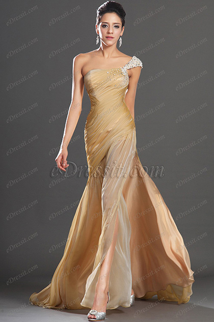 eDressit New High Slit One Shoulder Gold Evening Dress (00133224)