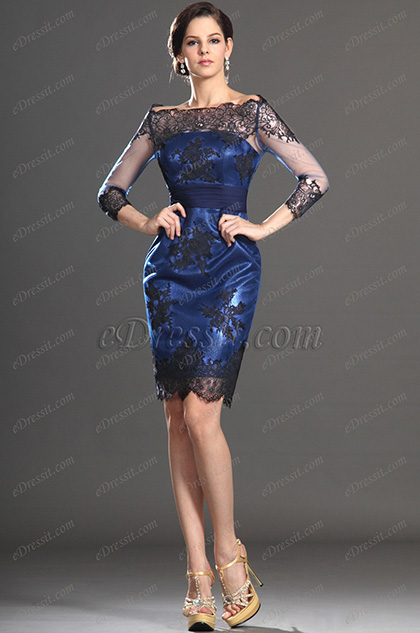 Off Shoulder Lace Mother of the Bride Dress Knee Length (26130405)