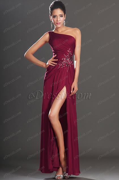 eDressit  Maravilloso Tinto Raja Alta Vestido de Fiesta Largo (00130717)