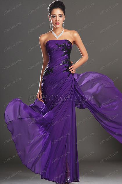 eDressit  Maravilloso Sin Tirante Violado Vestido Largo de Noche Para Fiesta (00135006)
