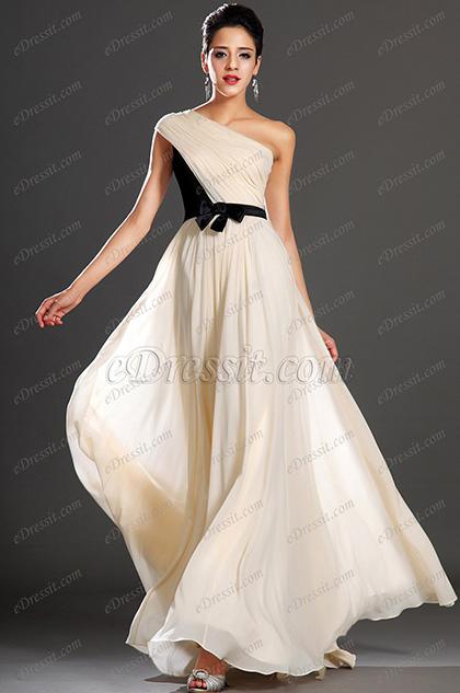 eDressit New Elegant Black Bowknot Belt One Shoulder Evening Dress (02131114)