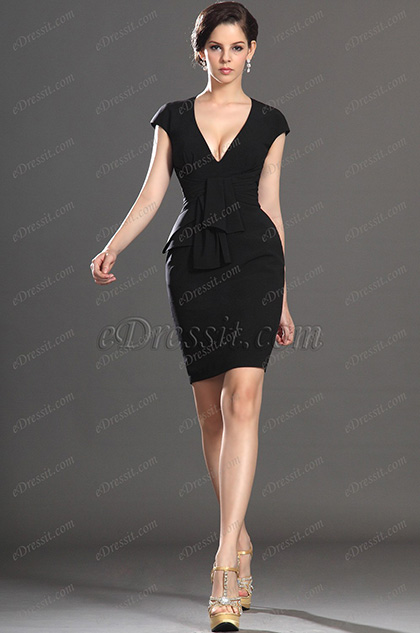 eDressit New Elegant Black Cap Sleeves Cocktail Dress Party Dress (03130800)