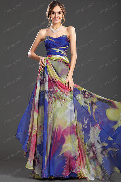 eDressit New Sweety Strapless Printed Evening Dress Party Dress (00121068)