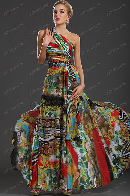 eDressit New Gorgeous One Shoulder Printed Fabric Evening Dress (00127268)