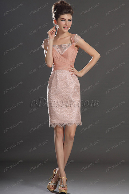 eDressit Linda Manga de Chapeo Encaje Vestido de Coctel Vestido de Fiesta (04130601)