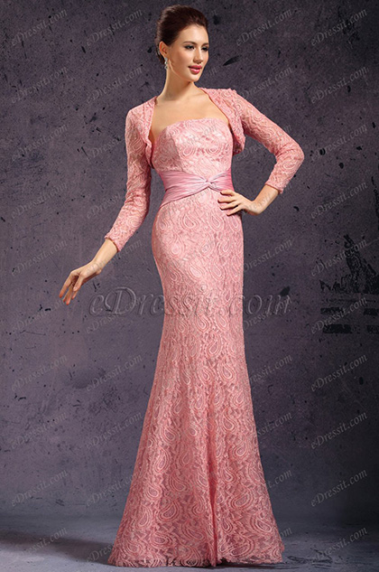 Stylish Overlace Bolero Mother of the Bride Dress (26135201)