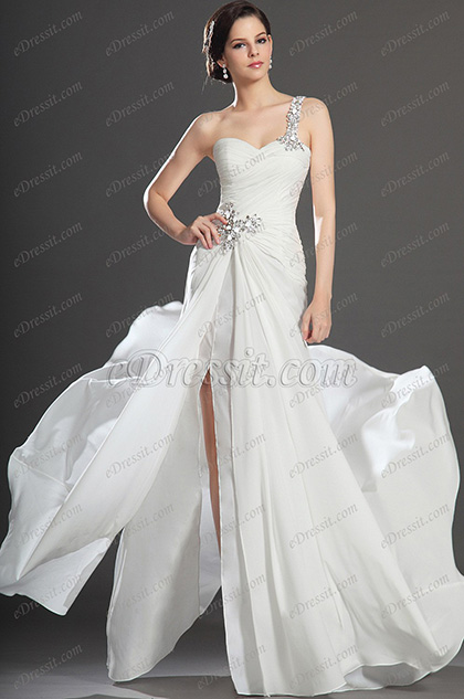 eDressit New Fabulous  High Split White Evening Dress (00131907)