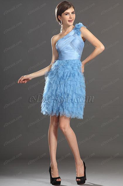 eDressit  Новое синее коктейльное платье одна бретелька (04132032)