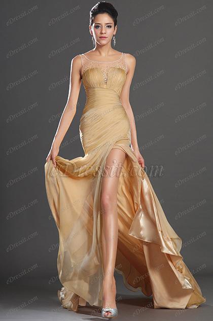 eDressit Sleeveless High Split Gold Chiffon Evening Dress(02130424)