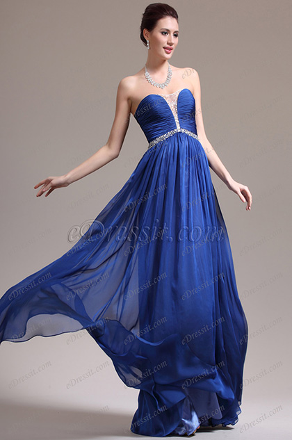 eDressit New Stunning Strapless Sweetheart Neckline Blue Evening Dress (00138605)