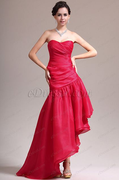 eDressit New Stylish Strapless Red Asymmetric Evening Dress (00137302)