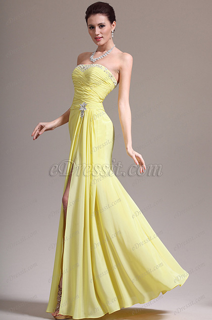 eDressit New Stunning Yellow High Split Strapless Evening Dress (00139203)