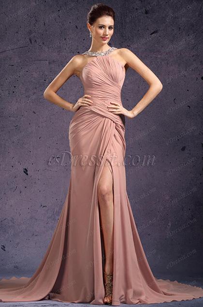 eDressit Stillvoll Halfter Tief Spalt Abendkleid (02131546)
