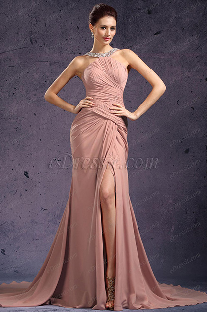 eDressit  De Moda Halter Raja Alta Vestido de Noche (02131546)