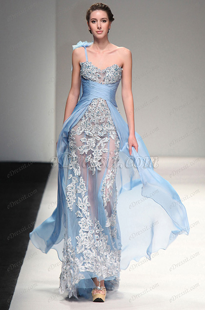 eDressit 2013 S/S Fashion Show Handmade Flowers Blue Evening Dress Prom Gown (F00132532)