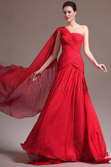 eDressit New Great Amazing One Shoulder Red Evening Dress (02133302)