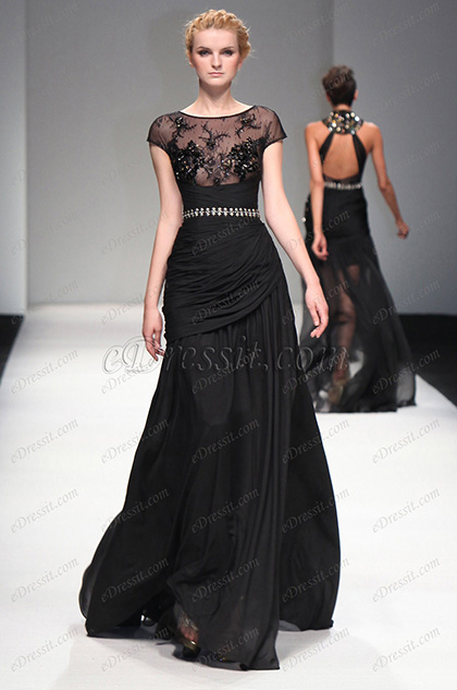 eDressit S/S Fashion Show Black Cap Sleeves Evening Dress Prom Gown