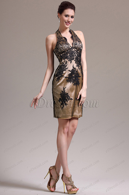 eDressit New Charming V Cut Black Lace Cocktail Dress (04136220)