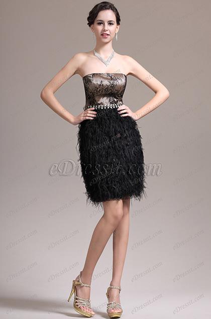 eDressit Wundervoll Trägerlos Klein Schwarz Cocktail Kleid Party Kleid (04135700)