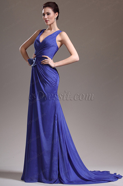 eDressit New Adorable Sexy V Cut Blue Evening Dress (00136205)