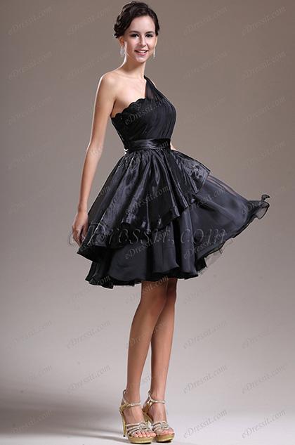 eDressit  новое одно плечевое чёрное коктейльное платье (04134800)