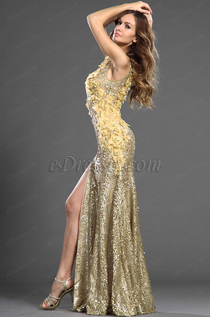 eDressit 2013 S/S Fashion Show Shiny Golden Sleeveless Evening Dress (F00130124)