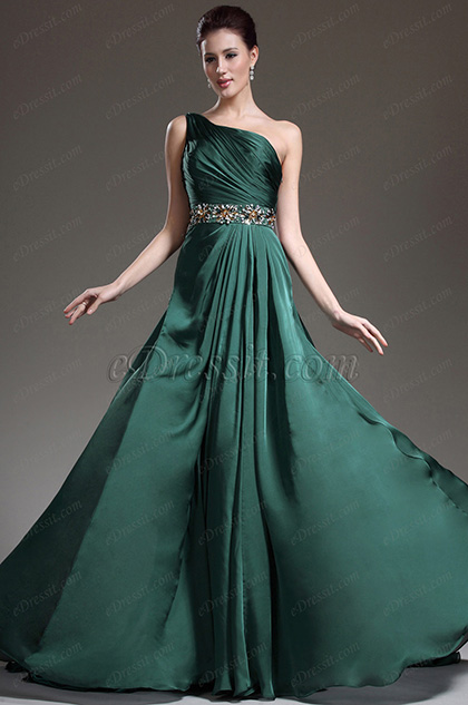 eDressit New Great Amazing One Shoulder Green Evening Dress (02132104)