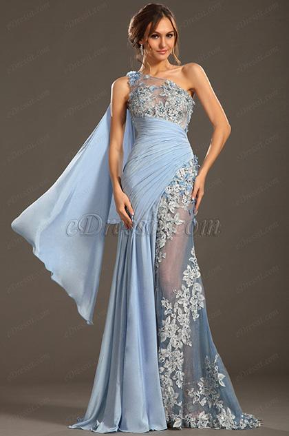 eDressit 2013 S/S Fashion Show Handmade Flowers Blue Evening Dress Prom Gown (F00133032)