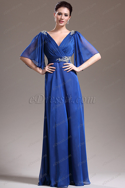 eDressit New Sexy V-Neck Blue Mother of the Bride Dress (26134205)