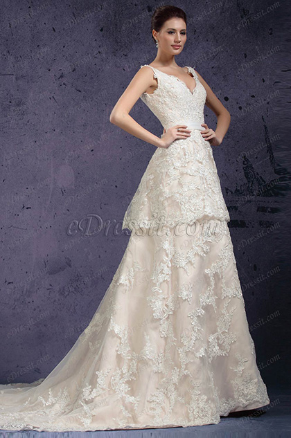 eDressit New V-cut Lace Appliques Evening Dress Wedding Gown