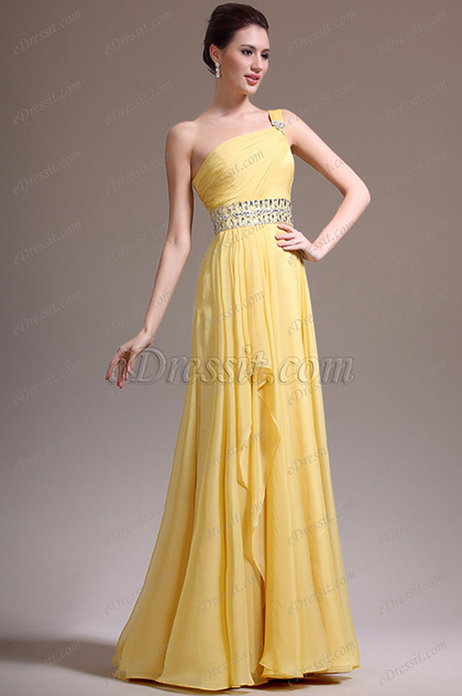 eDressit New Stunning One Shoulder Yellow Evening Dress (00138103)