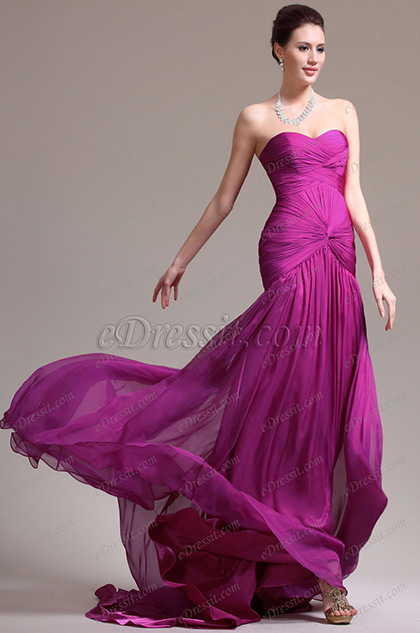 eDressit Magenta Strapless Sweetheart Evening Dress Prom Gown