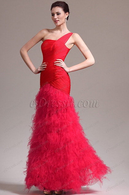 eDressit New Stylish Pleated Layers Skirt One Shoudler Red Evening Dress (02133502)