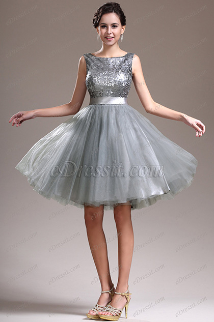 Grey Short Bridesmaid Sleeveless Sequins Cocktail Party Dress