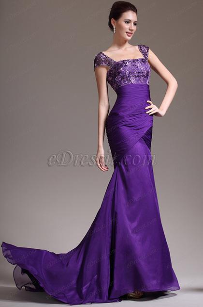 eDressit New Stylish Cap Sleeves Purple Evening Dress (02132406)