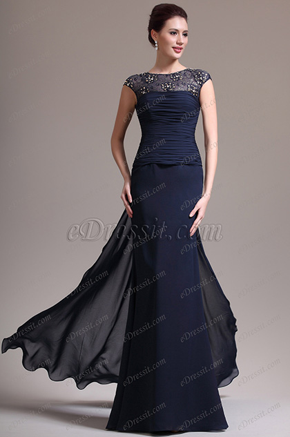 eDressit New Sexy Round Neck Lace Dark Blue Mother of the Bride Dress (26134705)
