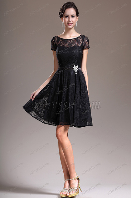 eDressit New Lovely Cap Sleeves Overlace Litte Black Cocktail Dress Party Dress (04134600)