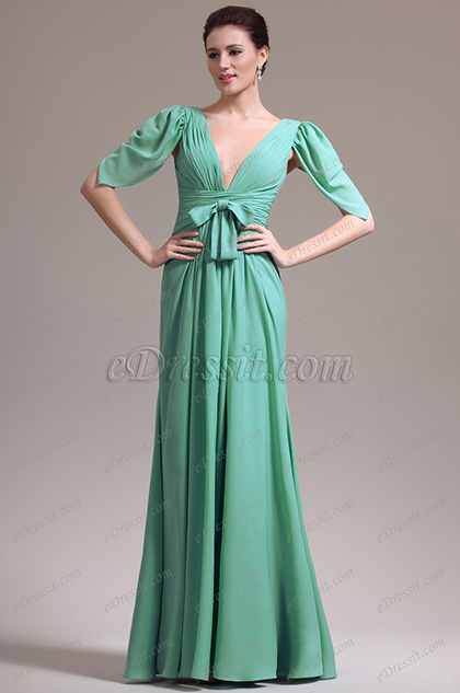 eDressit New Sexy Plunging V Neck Sleeves Evening Dress Prom Gown (02133404)