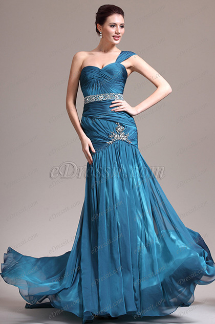 eDressit New One Shoulder Lovely Blue Evening Dress (02132905)