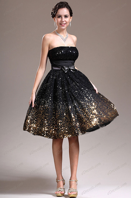 eDressit New Strapless Black Cocktail Dress Party Dress (04135100)