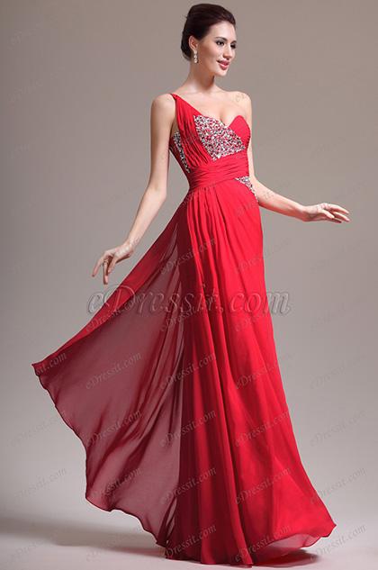 eDressit Nouveauté  Magnifique Rouge Une  Bretelle Perles Robe de Soirée (00137002)