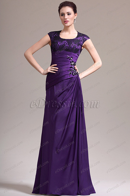 eDressit New Adorable Cap Sleeves Purple Mother of the Bride Dress (26134606)
