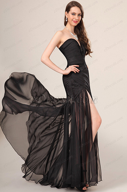 eDressit New Stylish Ruched bodice Black Evening Dress (00120500)
