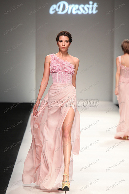 eDressit 2013 S/S Fashion Show Pink One Shoulder Evening Dress Prom Gown (F00132601)