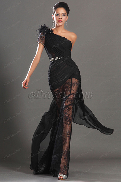 eDressit 2013 S/S Fashion Show Delicate Beads Chain Black Evening Dress Prom Gown (F00131800)
