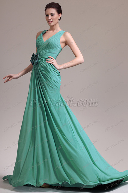 eDressit New Elegant Green V-cut Evening Dress (00138404)