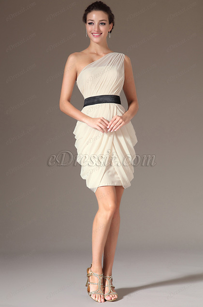 eDressit Champagne Simple One-Shoulder Cocktail Dress (04141914)