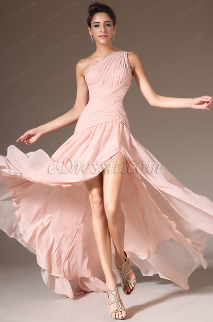 eDressit Pink One-Shoulder High Slit Evening Prom Dress(00143601)