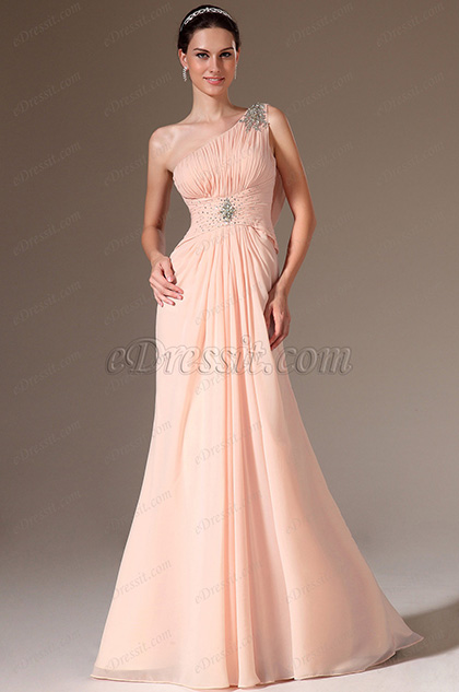 eDressit Pink One-Shoulder Lace Back Beaded Prom Dress (00143801)